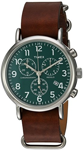 Timex Unisex TW2P97400 Weekender Chrono Oversize Brown Leather NATO Slip-Thru Strap Watch