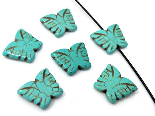 4 Beads- Blue turquoise color Howlite carved butterfly charm beads - GM401 Carved Butterfly Beads