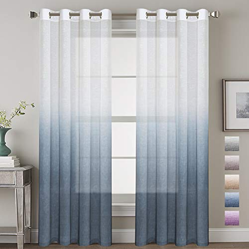2 Panels Ultra Luxurious Natural Linen Blended Semi Sheer Curtains Breathable and Airy Ombre Curtains Window Treatment with Ring Top for Girls Room, with Tie-Backs, 52x96 - Inch, Stone Blue (Ombre Curtain Panel Blue)