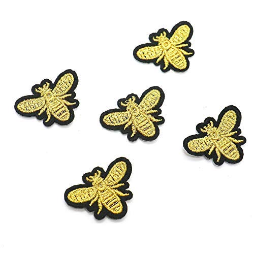 Bee Applique - HUELE 12 Pcs Cute Applique Sew Iron on Gold Embroidered Sewing Iron on Bees Patches Sewing Patch Bags Jackets Jeans Clothes