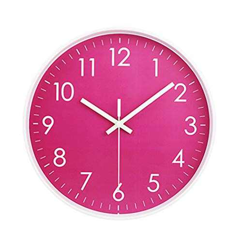 MOD CLOX Modern Wall Clock Non-Ticking Sweep Movement Battery Operated Clocks Decorative Living Room/Bedroom/Office/Kitchen 10 Inch Hot Pink