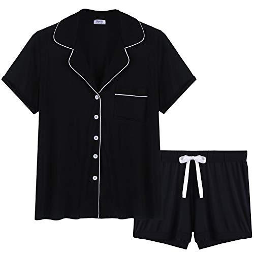 Cherrydew Womens Comfy Pj Sets Button UP Jersey Knit Pajama Shorts Set Summer Loungewear (Black, Medium)