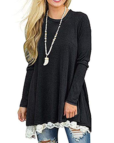 Rdfmy Women's Lace Long Sleeve Tops Casual Round Neck Top Blouses Black S ()