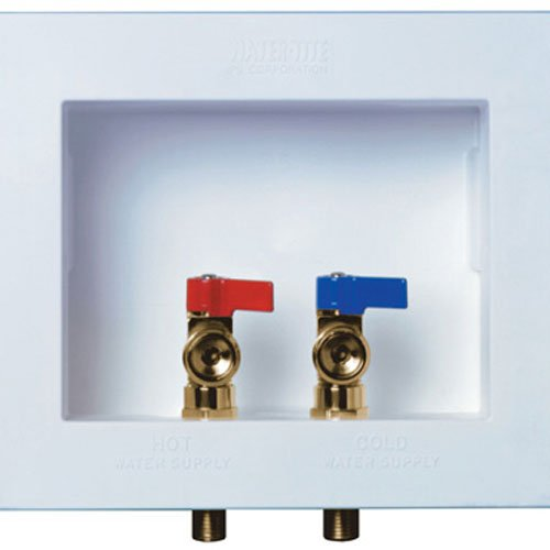 no Center Drain Washing Machine Outlet Box with Brass Quarter-turn Valves Installed, 1/2