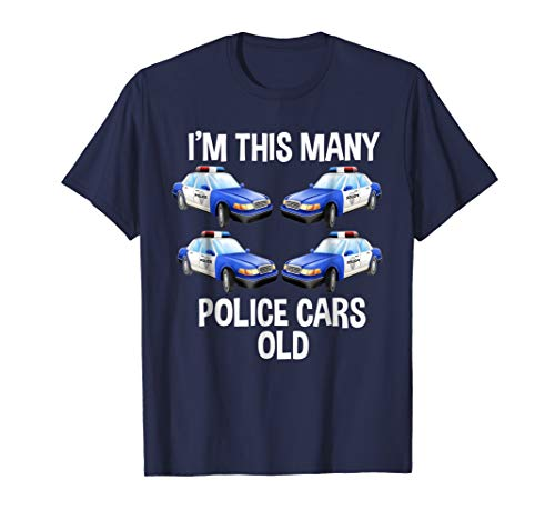 Birthday Shirt For Boys 4 I'm This Many Police Cars (Nypd Decorations)
