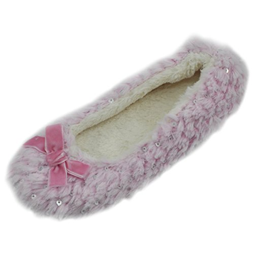 Ballerina Sole Slipper Dark Indoor Home Pink Plush Soft Ballet House Women's Slippers q1wdqXE4
