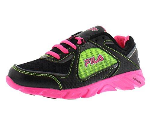 (Fila Ultraloop 2 Running Shoe (Little Kid/Big Kid),Black/Knockout Pink/Neon Green,3 M US Little Kid)