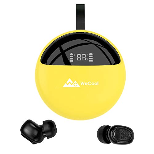 WeCool Moonwalk X2 Innovative Design True Wireless Earbuds for Stereo Music and Bluetooth Earphones with Mic IPX 5 Waterproof with Digital Display Charging Case (Yellow)