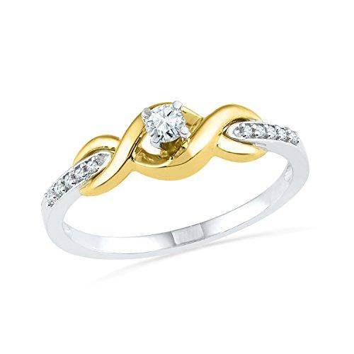 Two Tone Diamond Promise Ring - 4