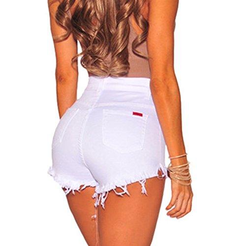 Casuale Streetwear Jeans Tasche Denim Elegante Pantaloncini Con Estate Size A Shorts Hot Plus Donna Pants Unita Vita Bianca Moda Alta Tinta T6agn