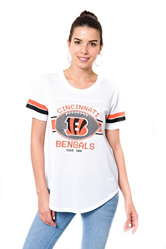 ICER Brands Women's Jersey T Mesh Varsity Stripe Tee Shirt, White, Small