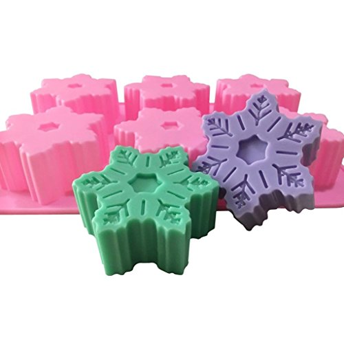 Allforhome 6 Cavities Snowflake Silicone Cake Baking Mold Cake Pan Muffin Cups Handmade Soap Moulds Biscuit Chocolate Ice Cube Tray Bath Bomb DIY Mold
