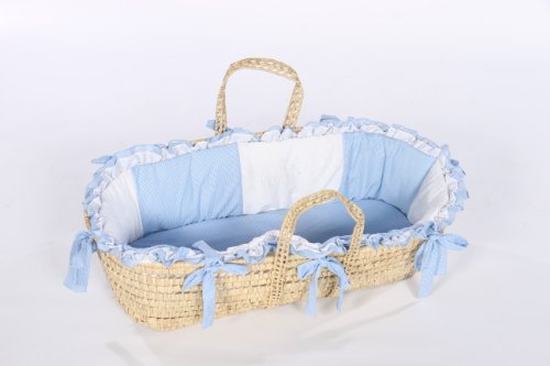 Baby Doll Bedding Gingham Moses Basket, Blue by BabyDoll Bedding