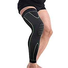 Bufccy Full Leg Compression Sleeve for Women Men Stretch Long Leg Sleeve for Running Basketball Football Cycling 1 Pcs Medium