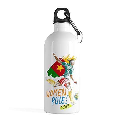 (Womens Soccer 2019 Water Bottle (14oz Stainless Steel) - National Team Flag Gift - Cameroon)