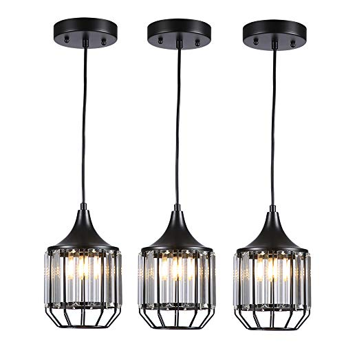 Cuaulans 3 Pack Black Caged Crystal Pendant Light, Ceiling Hanging Lighting Fixture for Dining Room, Living Room,Kitchen