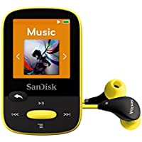 SanDisk Clip Sport 4GB MP3 Player, Yellow With LCD Screen and MicroSDHC Card Slot (Certified Refurbished)