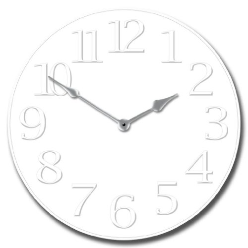 White on White Wall Clock, Available in 8 sizes, Most Sizes Ship 2 – 3 days, Whisper Quiet.