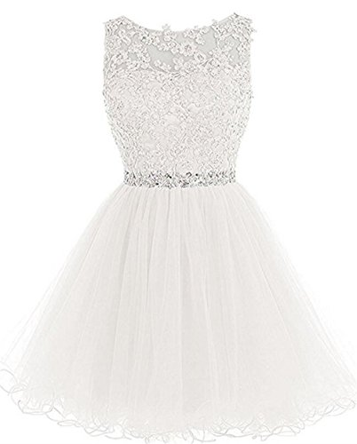 Dydsz Homecoming Dresses Short Prom Dress for Women Juniors Party Cocktail Gown 2019 D126 Ivory - Cocktail Tea Length