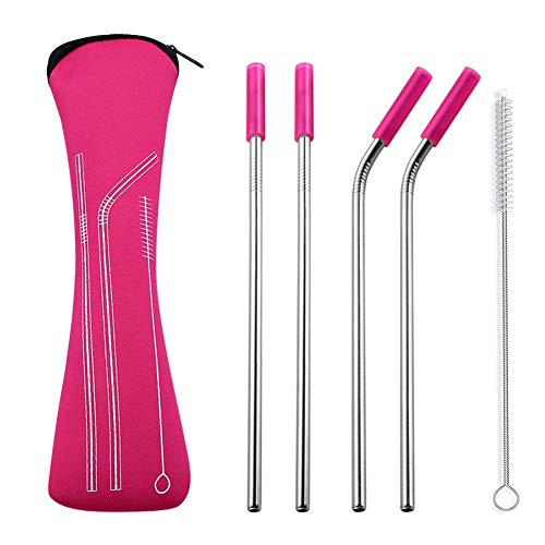 4Pcs Reusable Silicone Tips Cover Stainless Steel Straight Bent Drinking Straws With Bag Brush Carmine