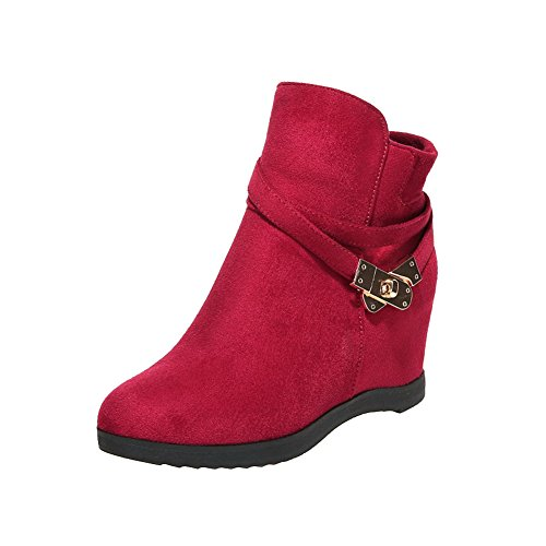 AmoonyFashion Womens Frosted Zipper Round Closed Toe Kitten-Heels Ankle-High Boots Red
