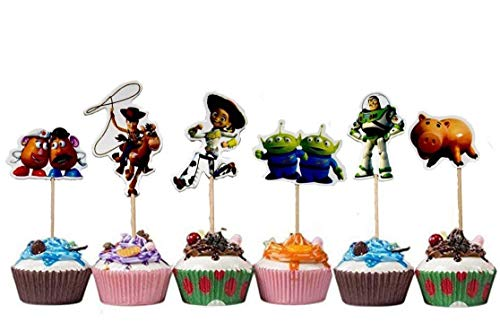 TOYSTORYCAKE Toy Story Themed Decorative Cupcake Toppers Party Pack for 24 Cupcakes]()