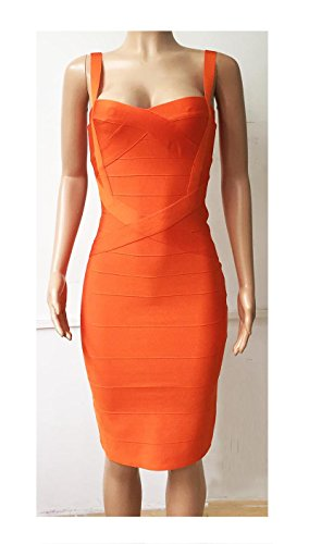 Supo-Dre Women Sexy Celebrity Midi Hl Elastic Bandage Dress Spaghetti Strap Club Bodycon Party Dress Orange XL ()