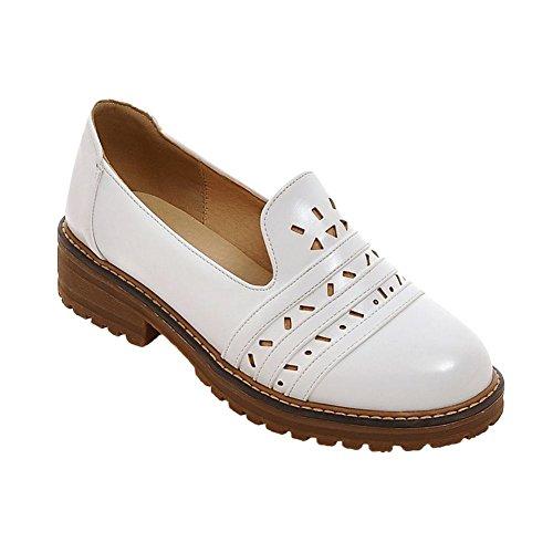 Mee Shoes Damen Niedrig Geschlossen chunky heels runde Pumps Weiß