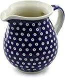 Polish Pottery 56 oz Pitcher (Blue Eyes Theme) + Certificate of Authenticity