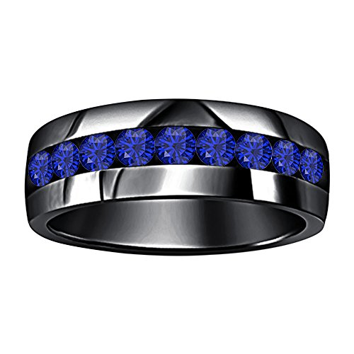 Awesome 14k Black Gold Plated Round Cut Created Blue Sapphire 9-Stone Men's Wedding Band Anniversary Ring by Dabangjewels