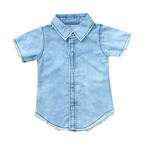 (Fashion Baby Boys' Denim T-Shirt Short Sleeve Turndown Collar Button Down Solid Comfy Tops Clothes (Blue, Recommended Age:6-12 Months))