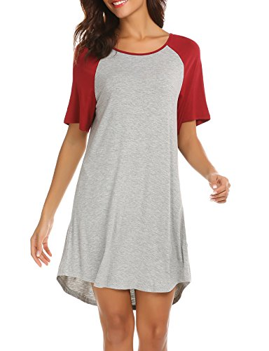 Cotton Empire Waist Chemise - Ekouaer Plus Size Sleepwer Sexy Pajama Dress Loose Maternity Nightgown for Women Wine Red