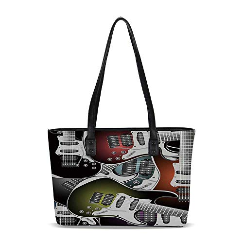 - Popstar Party PU Shoulder Tote Bag,Pile of Graphic Colorful Electric Guitars Ro