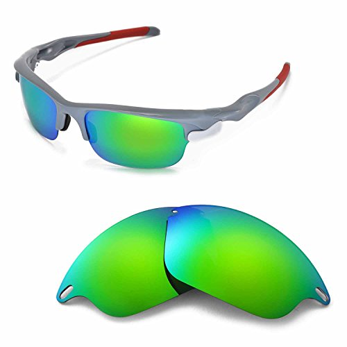 Walleva Replacement Lenses for Oakley Fast Jacket Sunglasses - Multiple Options Available (Emerald Mirror Coated - - Oakley Fast Jacket Lenses