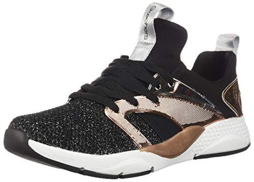 Skechers Kids Girl's Shine Status Shoe, Black/Rose Gold, 12 Medium US Little Kid