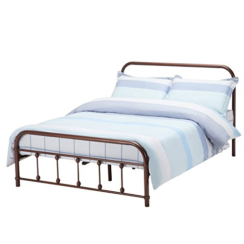 Bronze Queen Size Bed - Mecor Bronze Metal Beds Frame Queen Size Platform, with Headboard Footboard,Steel Frame with Wooden Mattress Foundation Slats