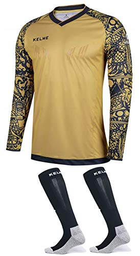 Goalkeeper Jersey Pro Bundle - Includes Premium Pro Goalkeeper Shirt and Socks (Gold/Black, - Uniform Gold Soccer