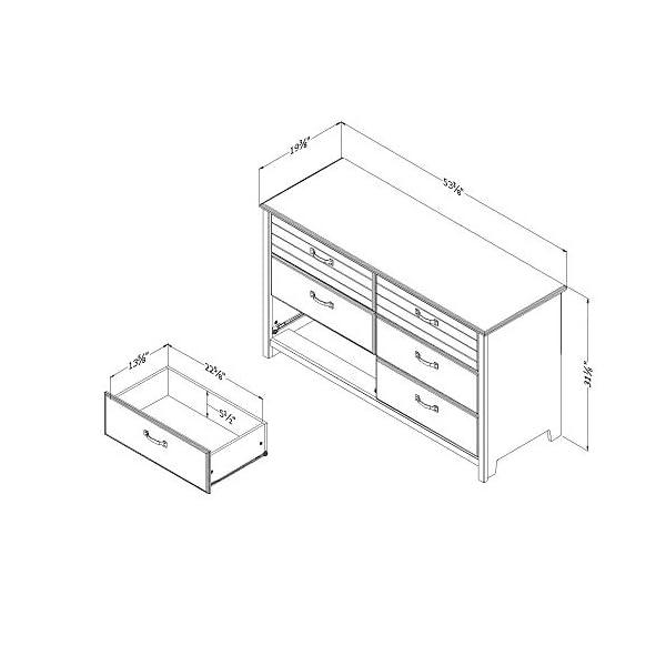 South Shore Ulysses 6-Drawer Double Dresser, Fall Oak