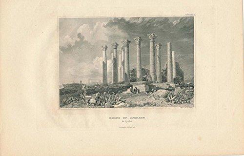 Jerash Ruins Syria 1843 Original Antique Steel Engraved View