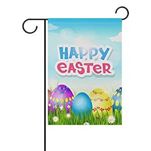 U LIFE Happy Easter Spring Floral Flowers Eggs Garden Yard Flag Banner for Outside House Flower Pot Double Side Print 12 x 18 Inch