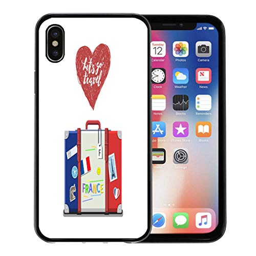 Emvency Phone Case for Apple iPhone Xs Case/iPhone X Case,Red Dictionary of Travel to France Studying French Flag Soft Rubber Border Decorative, (Transparent Language French Dictionary)
