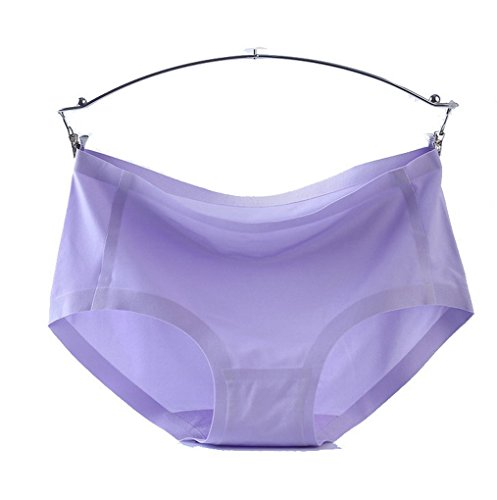 Para mujer Sexy ropa interior sin costuras de seda de hielo breve tanga 2unidades morado