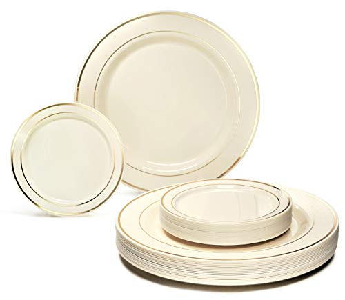 OCCASIONS 50 Plates Pack, Heavyweight Premium Disposable Plastic Plates Set for Christmas, (25 x 10.5 Dinner + 25 x 6 Cake plates) Ivory & Gold Rim