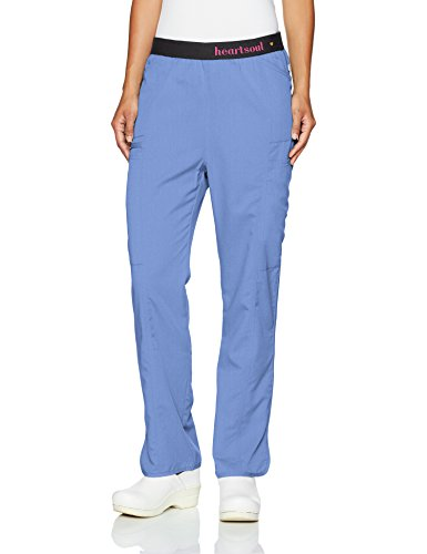 HeartSoul Scrubs Women's Head Over Heelsso in Love Low Rise Pull-on Pant, Ciel Blue, XX-Small Petite