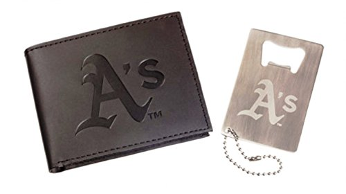 Rico Industries Oakland A's Athletics Leather Wallet & Bottle Opener Keychain Gift Set ()