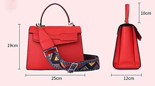 Messenger Manija La Bag Ancho Negro Hombro De Paquete Las Tote color Cuero Genuino Tamaño Superior Moontang Bolso Señoras Color Negro Correa qzxn8O6Ow