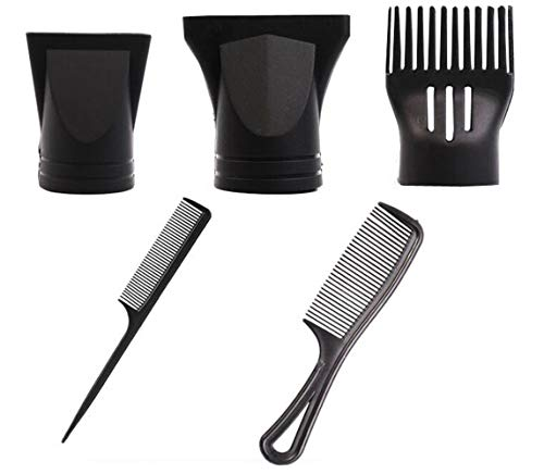1 Set 5 PCS Professional Black Plastic Salon Hair Dryer Multifunctional Blower Nozzles with Combs Flat Mouth Air Wind Concentrators Portable Replaceable Blowers Diffuser for Hair Drying Styling (Blowers De Salon)