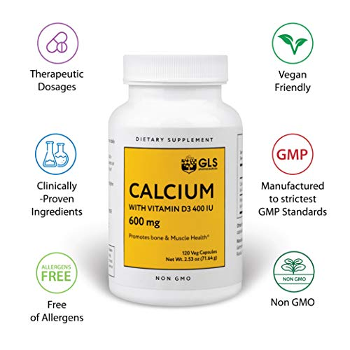 Calcium 600 mg with Vitamin D3 400 IU- Pure, Raw, Natural, Vegan Muscle, Bone and Joint Health Supplements for Women, Men - 120 Easy Swallow Pill Capsule Vitamin