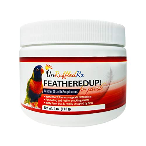 Feather Care - Bird Feather Growth Supplement - UnRuffledRx FeatheredUp! Feather Growth Formula for Parrots. Helps Stressed Caged Pets Regrow Feathers Fast (4 oz.113 Grams)