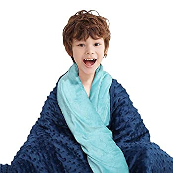 Image of CHIAVE Weighted Blanket for Teens and Adults 10 Lbs 48'x72' Plush Minky I Removable and Washable Cover I Perfect for Teens & Adults from 80 to 125 lbs - Navy and Blue CHIAVE B07WX74FCH Weighted Blankets